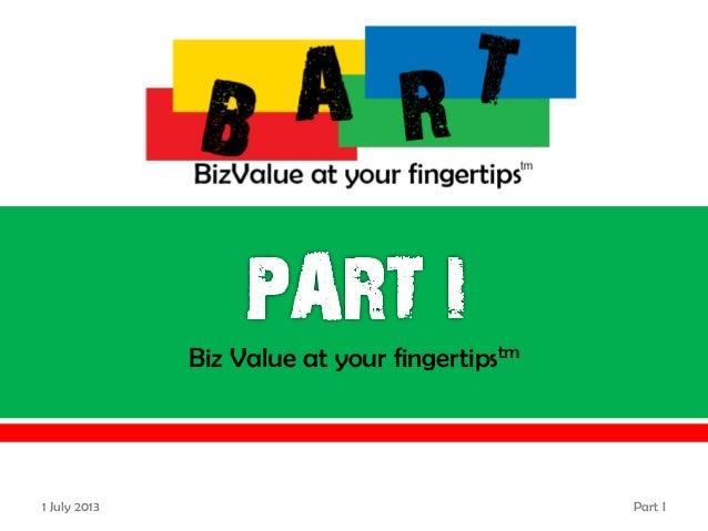 Biz Value at your fingertipstm 20 June 2013 Part I