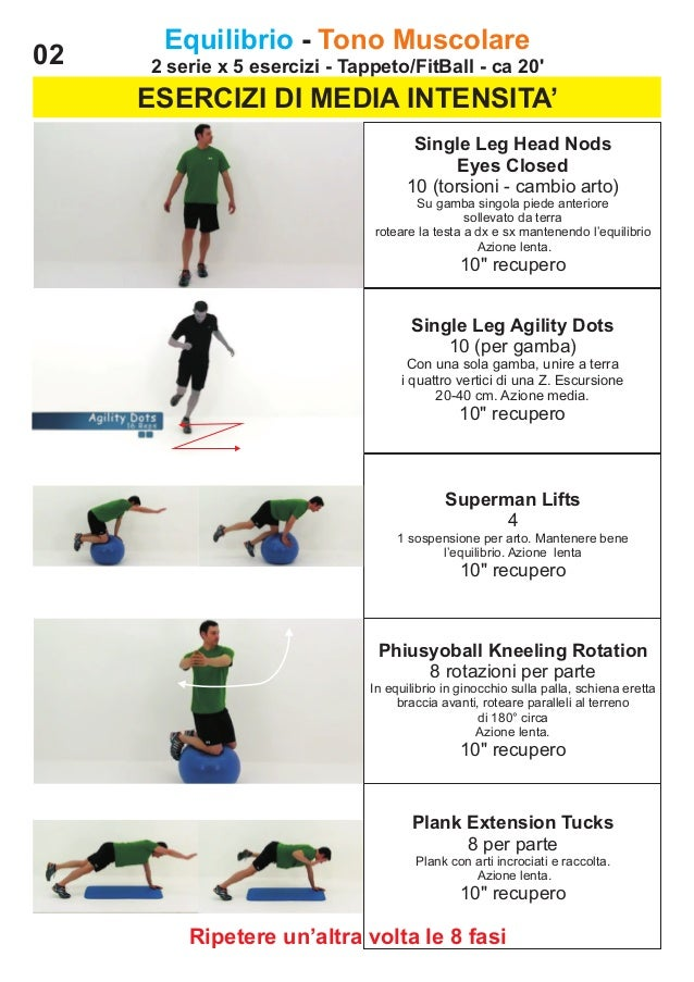 02  Equilibrio - Tono Muscolare 2 serie x 5 esercizi - Tappeto/FitBall - ca 20'  ESERCIZI DI MEDIA INTENSITA' Single Leg H...