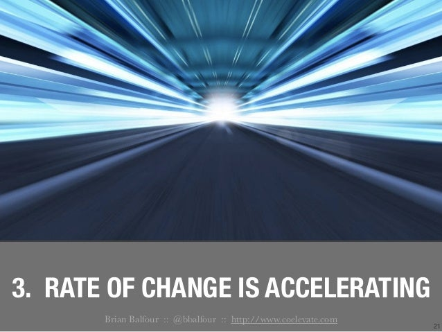 21 3. RATE OF CHANGE IS ACCELERATING Brian Balfour :: @bbalfour :: http://www.coelevate.com