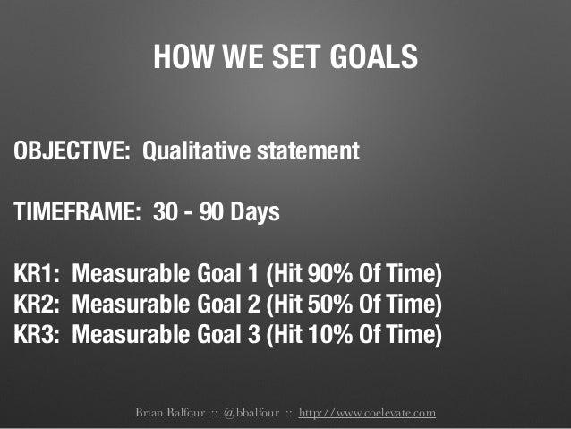 HOW WE SET GOALS OBJECTIVE: Qualitative statement ! TIMEFRAME: 30 - 90 Days ! KR1: Measurable Goal 1 (Hit 90% Of Time) KR2...