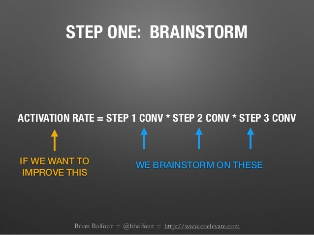 STEP ONE: BRAINSTORM ACTIVATION RATE = STEP 1 CONV * STEP 2 CONV * STEP 3 CONV IF WE WANT TO IMPROVE THIS WE BRAINSTORM ON...