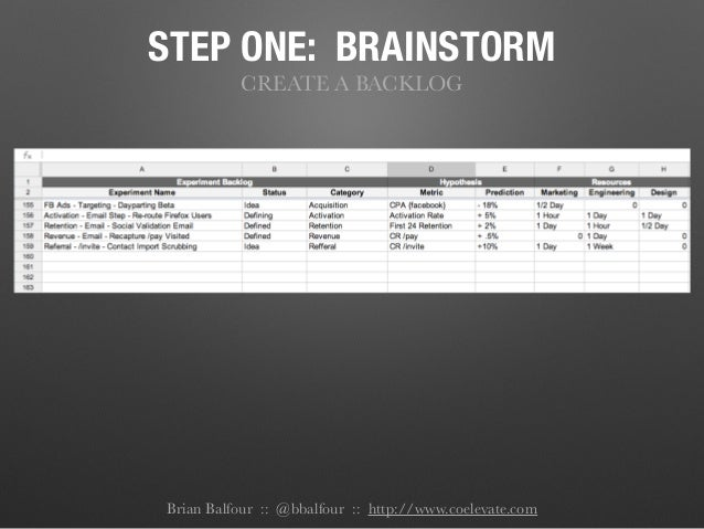 STEP ONE: BRAINSTORM CREATE A BACKLOG Brian Balfour :: @bbalfour :: http://www.coelevate.com