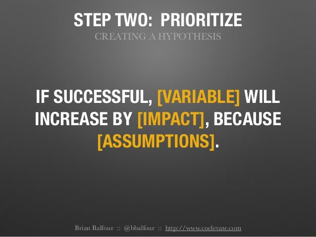 STEP TWO: PRIORITIZE CREATING A HYPOTHESIS IF SUCCESSFUL, [VARIABLE] WILL INCREASE BY [IMPACT], BECAUSE [ASSUMPTIONS]. Bri...