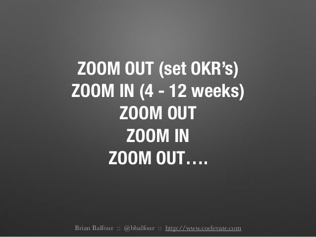 ZOOM OUT (set OKR's) ZOOM IN (4 - 12 weeks) ZOOM OUT ZOOM IN ZOOM OUT…. Brian Balfour :: @bbalfour :: http://www.coelevate...