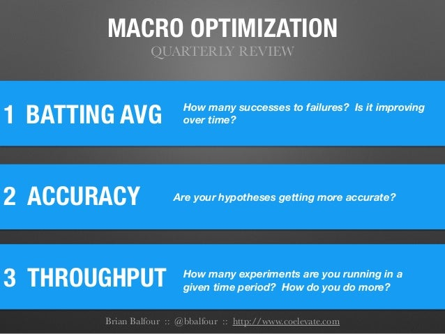 MACRO OPTIMIZATION QUARTERLY REVIEW 1 2 ACCURACY BATTING AVG 3 THROUGHPUT How many successes to failures? Is it improving...