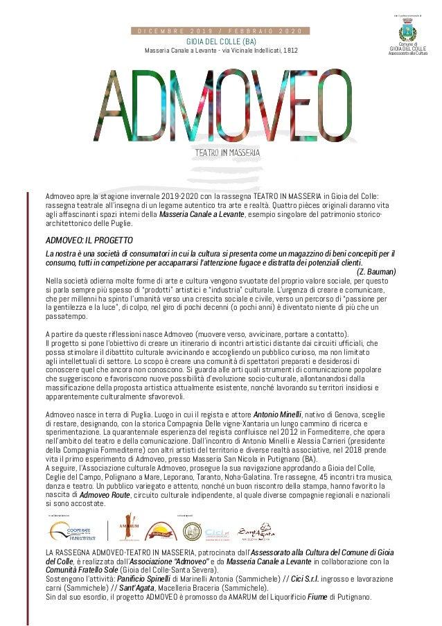 TEATRO IN MASSERIA Admoveo apre la stagione invernale 2019-2020 con la rassegna TEATRO IN MASSERIA in Gioia del Colle: ras...