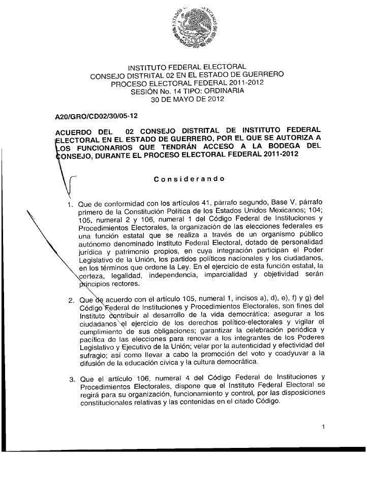 INSTITUTO FEDERAL ELECTORAL         CONSEJO DISTRITAL 02 EN EL ESTADO DE GUERRERO             PROCESO ELECTORAL FEDERAL 20...