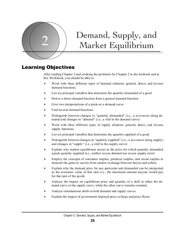 Chapter 2: Demand, Supply, and Market Equilibrium 35 Learning Objectives After reading Chapter 2 and working the problems ...