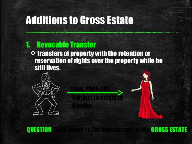 Additions to Gross Estate 1. Revocable Transfer  transfers of property with the retention or reservation of rights over t...