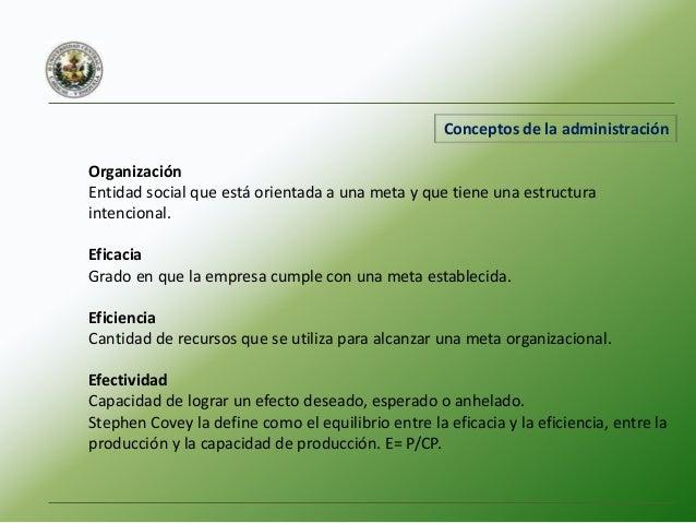 Funciones de la administración Planeación: Definir las metas del desempeño futuro y relacionar las actividades y recursos ...