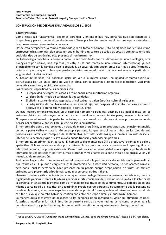 """ISFD Nº 6006Profesorado de Educación EspecialSeminario Taller """"Educación Sexual Integral y Discapacidad"""" – Clase 21Respons..."""