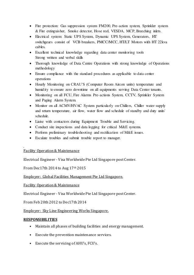 resume for data center facility maintenance