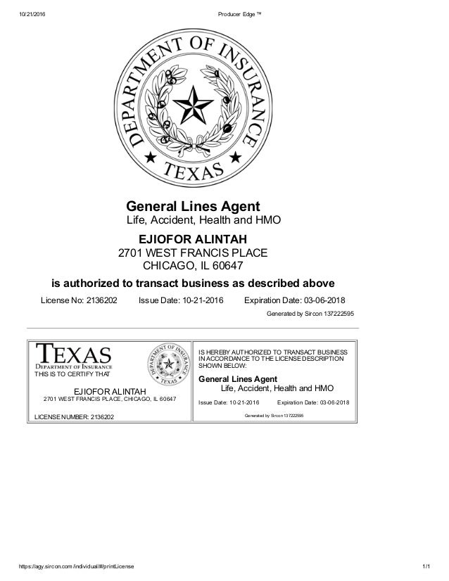 Ejiofor Alintah S Texas Non Resident Producer Insurance License