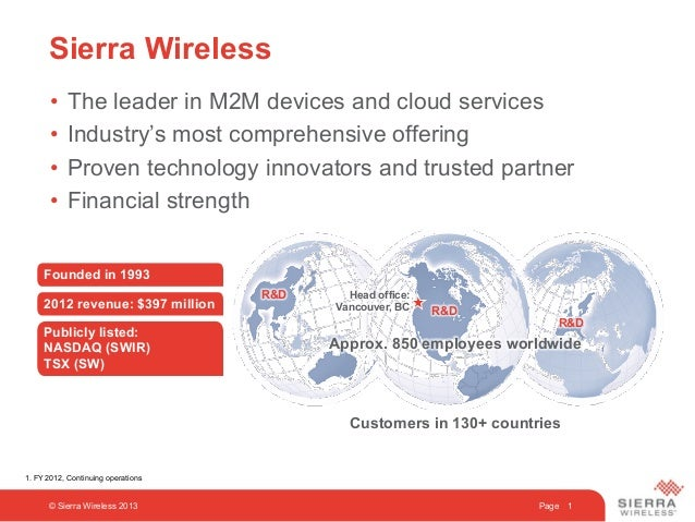 Page 1Sierra Wireless© Sierra Wireless 2013•  The leader in M2M devices and cloud services•  Industry's most comprehensive...