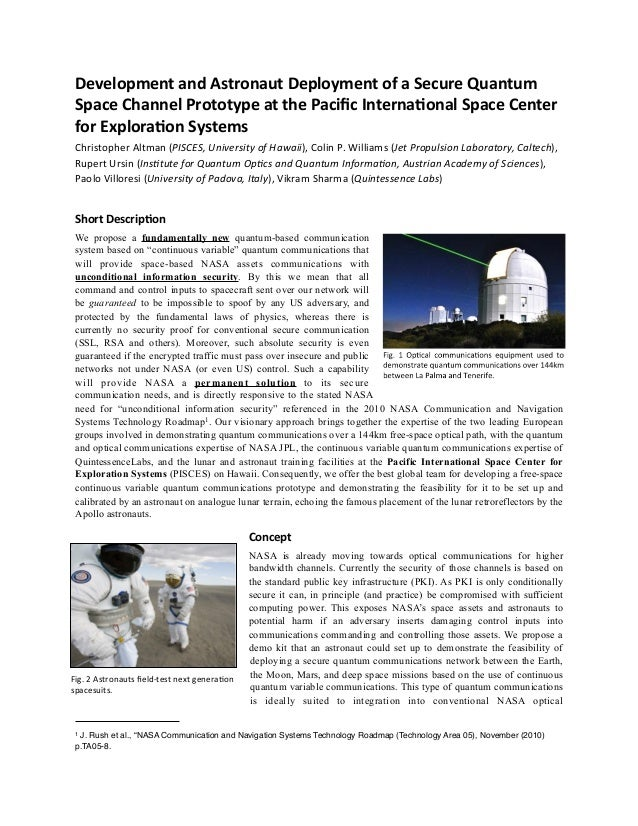 Development  and  Astronaut  Deployment  of  a  Secure  Quantum   Space  Channel  Prototype  at  the  Pacific  Interna<onal...