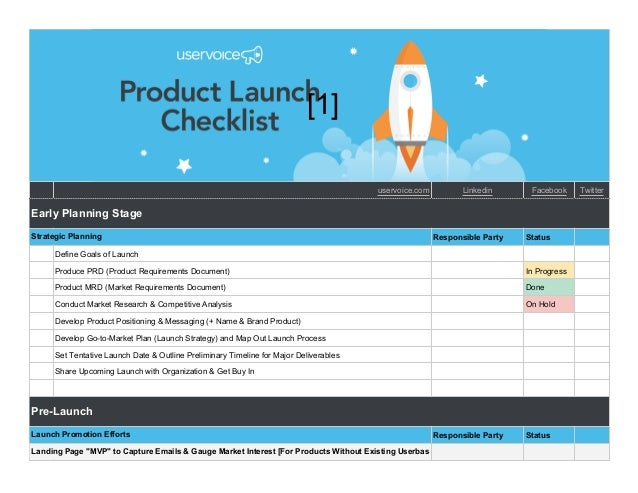 Product Launch Checklist Template - CHECKLIST
