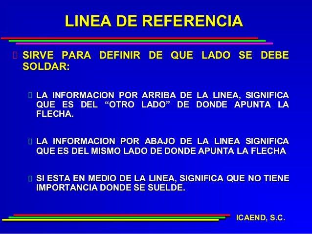 LINEA DE REFERENCIASIRVE PARA DEFINIR DE QUE LADO SE DEBESOLDAR: LA INFORMACION POR ARRIBA DE LA LINEA, SIGNIFICA QUE ES D...