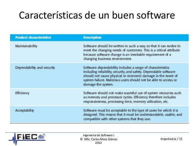 Ingeniería de Software I © MSc. Carlos Mera Gómez 2012 Importancia / 13 Características de un buen software