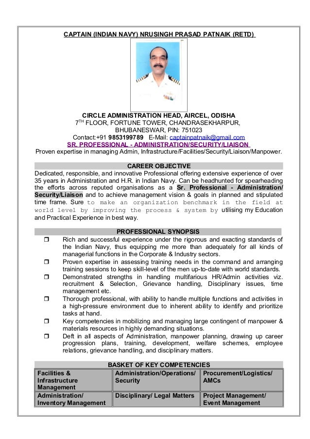 resume captain np patnaik indian navy