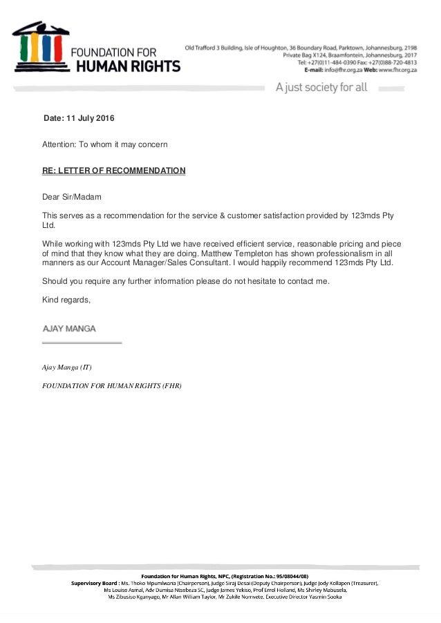 a recommendation letter