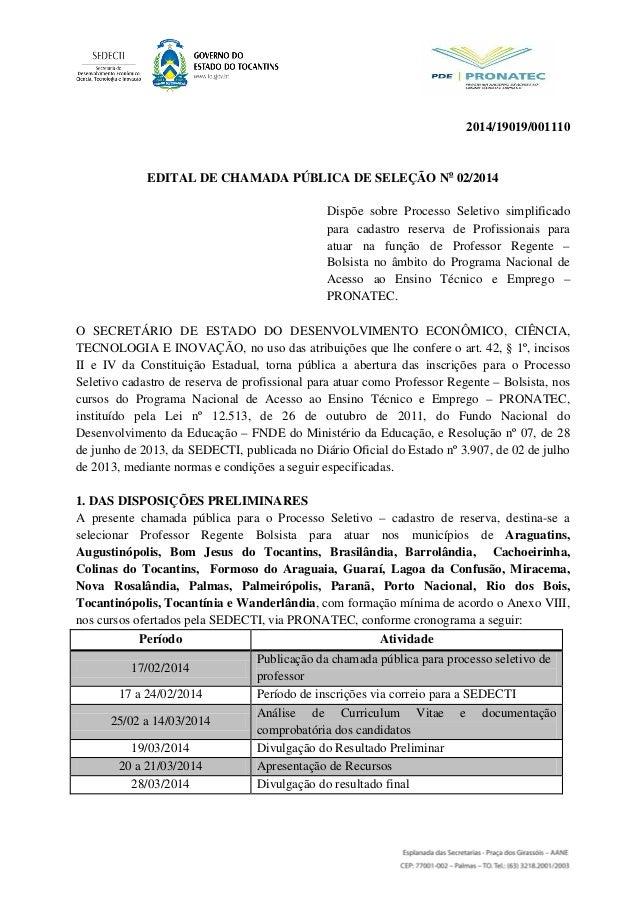 2014/19019/001110 EDITAL DE CHAMADA PÚBLICA DE SELEÇÃO No 02/2014 Dispõe sobre Processo Seletivo simplificado para cadastr...