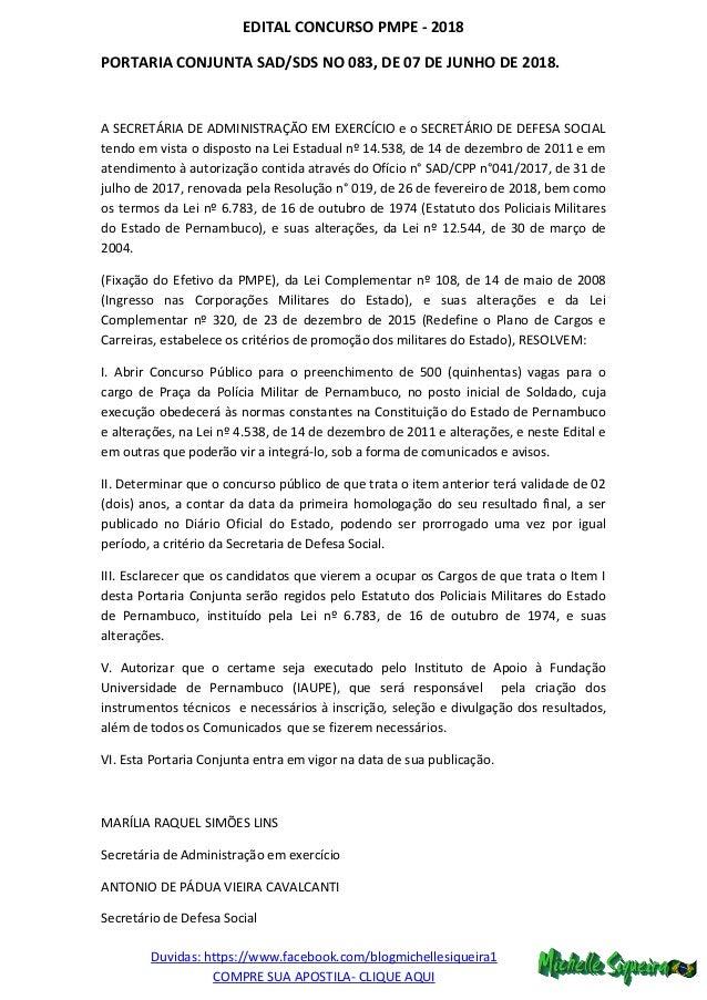 Duvidas: https://www.facebook.com/blogmichellesiqueira1 COMPRE SUA APOSTILA- CLIQUE AQUI EDITAL CONCURSO PMPE - 2018 PORTA...