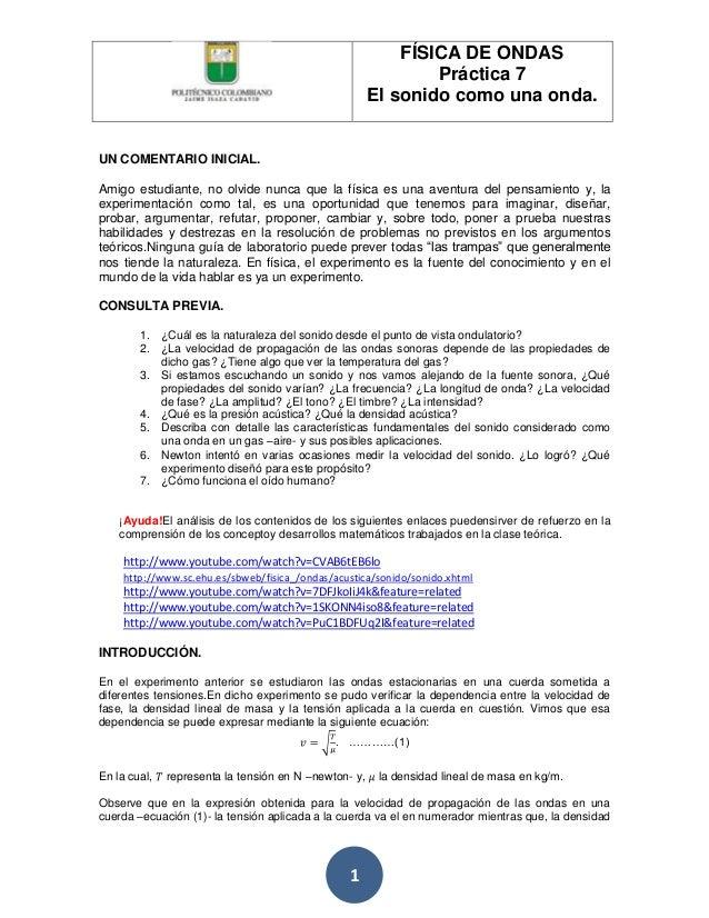 FÍSICA DE ONDAS                                                               Práctica 7                                  ...