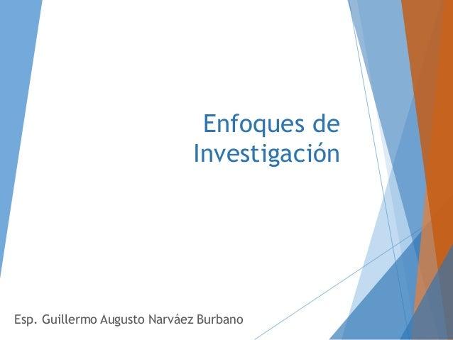 Enfoques de Investigación Esp. Guillermo Augusto Narváez Burbano