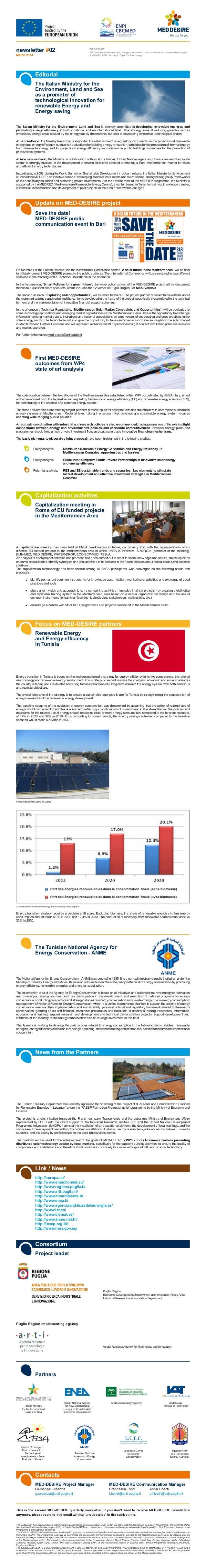newsletter #02 March 2014 MED-DESIRE MEDiterranean DEvelopment of Support schemes for solar Initiatives and Renewable Ener...