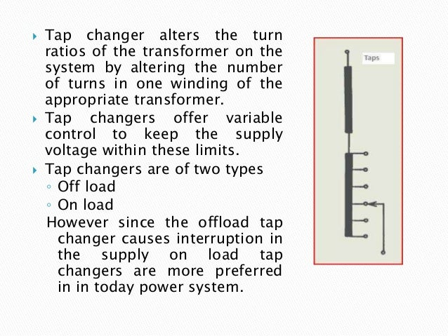  Tap changer alters the turn ratios of the transformer on the system by altering the number of turns in one winding of th...