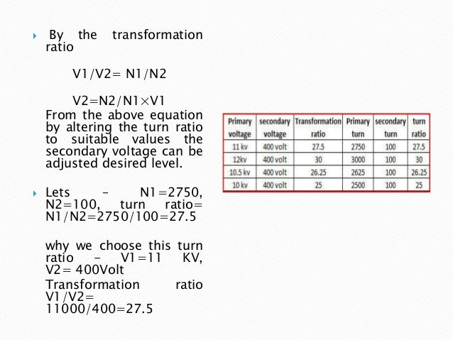  By the transformation ratio V1/V2= N1/N2 V2=N2/N1×V1 From the above equation by altering the turn ratio to suitable valu...