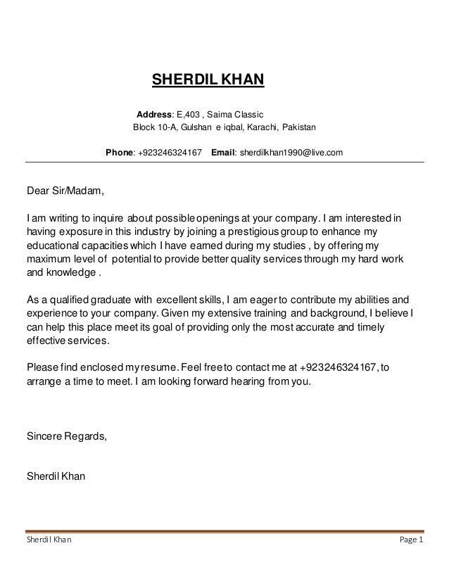 Sherdil Khan cv and Cover letter