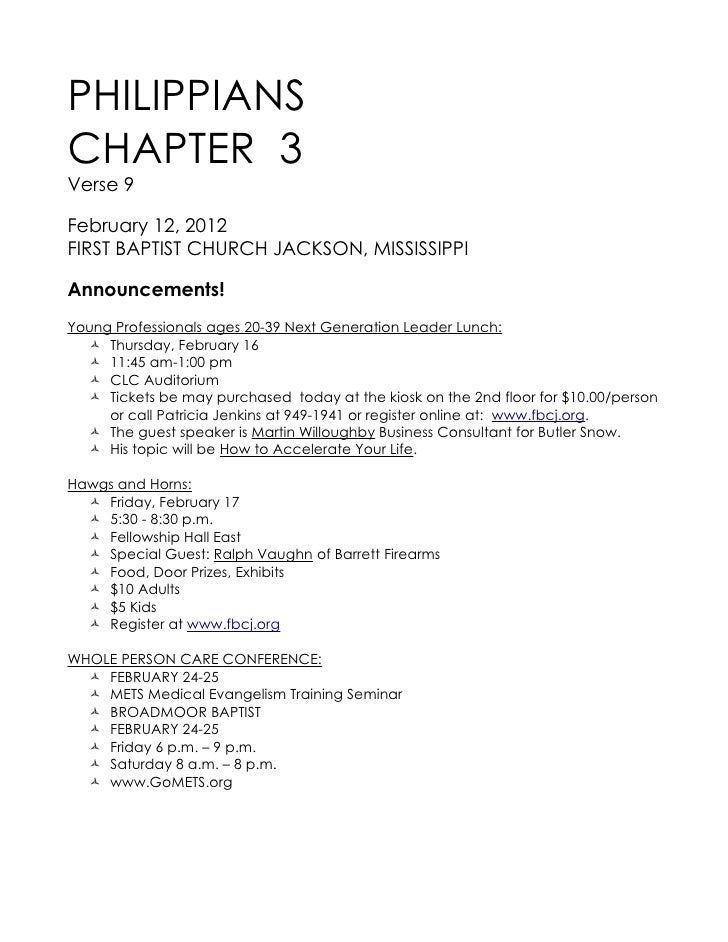 PHILIPPIANSCHAPTER 3Verse 9February 12, 2012FIRST BAPTIST CHURCH JACKSON, MISSISSIPPIAnnouncements!Young Professionals age...