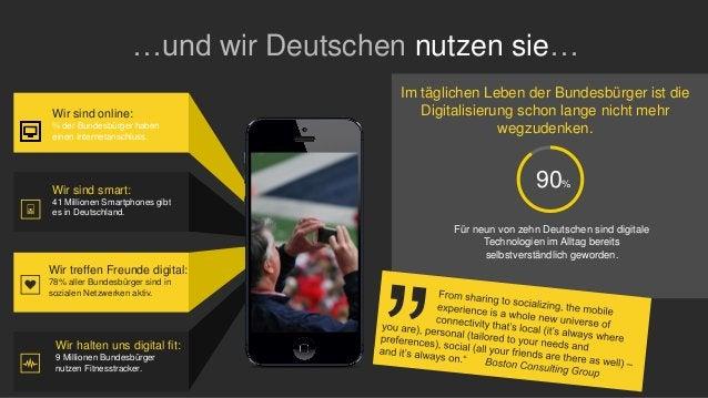 …und wir Deutschen nutzen sie… Wir sind online: ¾ der Bundesbürger haben einen Internetanschluss. Wir sind smart: 41 Milli...