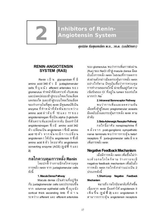 2  Inhibitors of ReninAngiotensin System ศุภนิมิต ทีฆชุณหเถียร พ.บ., วท.ด. (เภสัชวิทยา)  RENIN-ANGIOTENSIN SYSTEM (RAS)  ข...