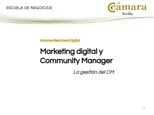 1 #AprendiendoenDigital Marketing digital y Community Manager La gestión del CM