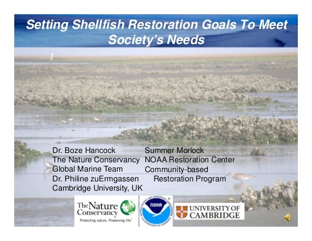 Setting Shellfish Restoration Goals To Meet Society's Needs  Dr. Boze Hancock Summer Morlock The Nature Conservancy NOAA R...