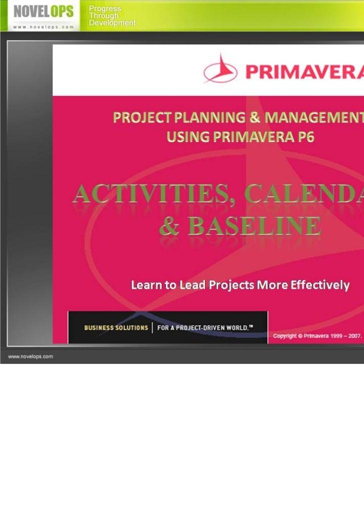 Activity, Baseline & Calendars
