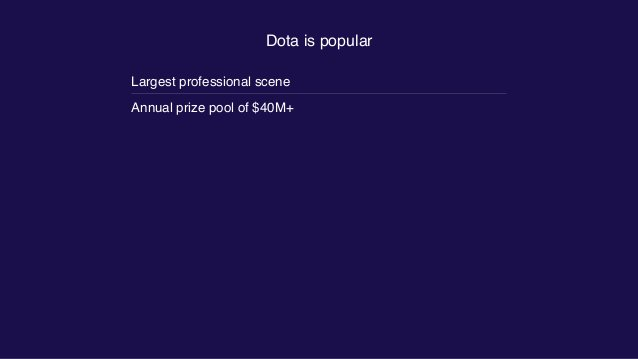 Dota is popular Largest professional scene Annual prize pool of $40M+