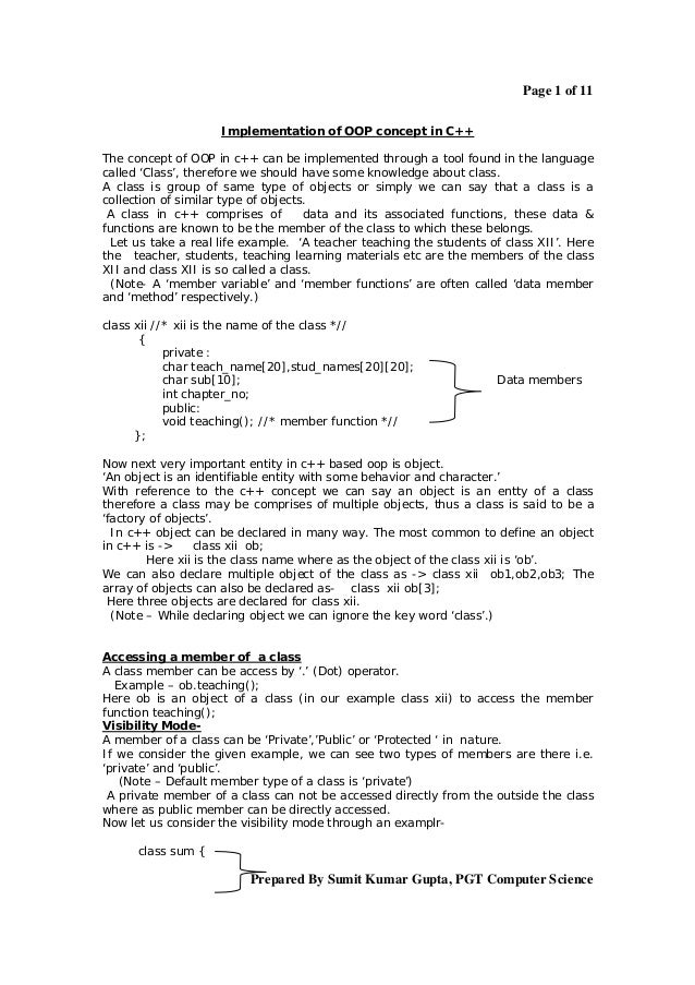 Page 1 of 11                     Implementation of OOP concept in C++The concept of OOP in c++ can be implemented through ...