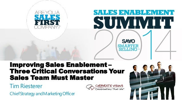 Improving Sales Enablement – Three Critical Conversations Your Sales Team Must Master Tim Riesterer ChiefStrategyandMarket...