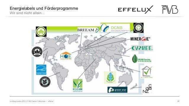 Lichttag Ineltec 2013, FVB Daniel Cathomen / effelux 20 Energielabels und Förderprogramme Wir sind nicht allein... Herakli...