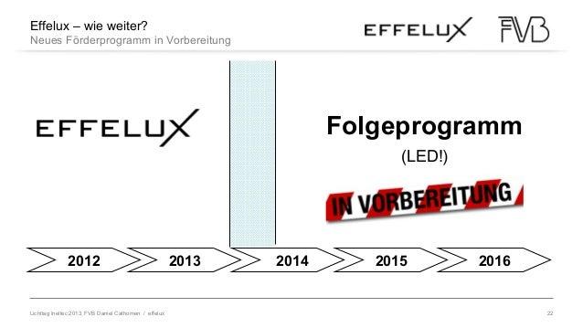 Lichttag Ineltec 2013, FVB Daniel Cathomen / effelux 22 Effelux – wie weiter? Neues Förderprogramm in Vorbereitung 2012 20...