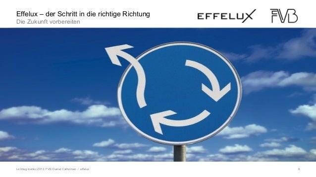 Lichttag Ineltec 2013, FVB Daniel Cathomen / effelux 8 LED im WandelEffelux – der Schritt in die richtige Richtung Die Zuk...