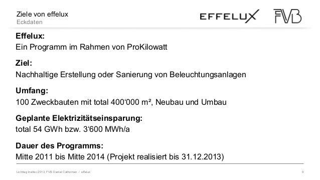 Lichttag Ineltec 2013, FVB Daniel Cathomen / effelux 9 Ziele von effelux Eckdaten Effelux: Ein Programm im Rahmen von ProK...