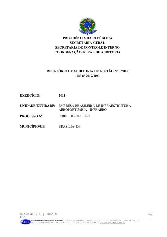 201201194final[1] REVIS Pág. 1/161 SECRETARIA DE CONTROLE INTERNO - PALÁCIO DO PLANALTO – ANEXO III-B, SALA 212 - BRASÍLIA...