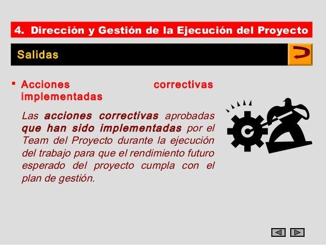 4. Dirección y Gestión de la Ejecución del ProyectoSalidas Acciones                   correctivas  implementadas Las acci...