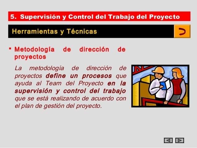 5. Supervisión y Control del Trabajo del Proyecto Herramientas y Técnicas Metodología    de   dirección    de  proyectos ...