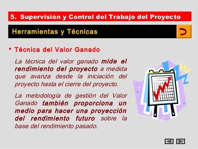 5. Supervisión y Control del Trabajo del Proyecto Herramientas y Técnicas Técnica del Valor Ganado La técnica del valor g...