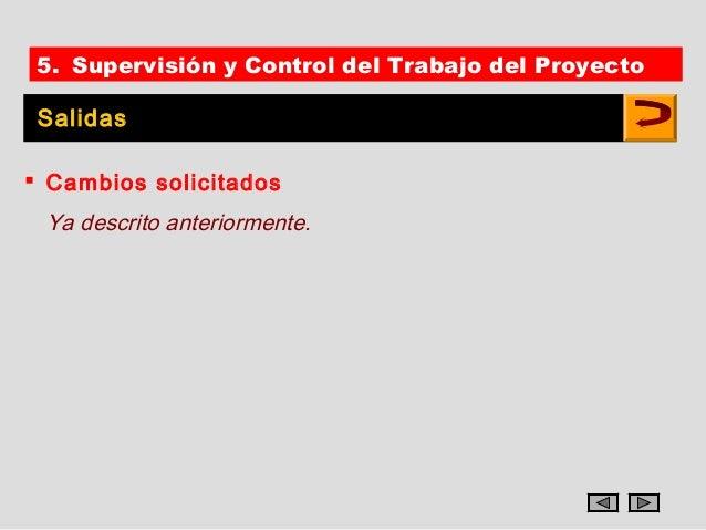 5. Supervisión y Control del Trabajo del Proyecto Salidas Cambios solicitados Ya descrito anteriormente.